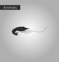 black and white style icon of shrimp vector image
