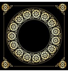 black background with golden floral frame vector image