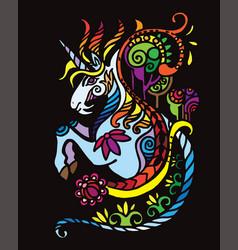 Black doodle unicorn vector