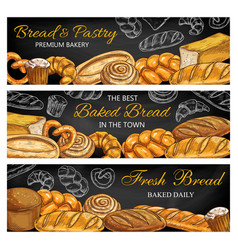 bread pastry food sketches on chalkboard banners vector image