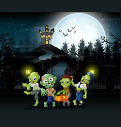 cartoon of zombie group on the halloween with haun vector image