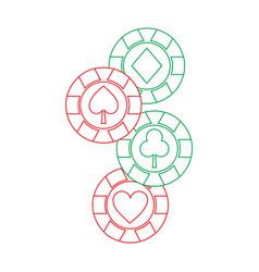 Casino chips club heart spade and diamond gamble vector