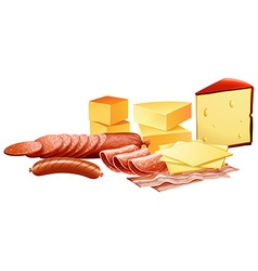 Cheese and different kinds of meat products vector image