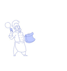 chef cook using smartphone chat bubble vector image