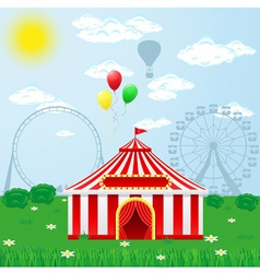 Circus tent on nature vector