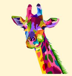 Colorful wildlife mammal fauna giraffe vector