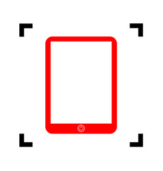 computer tablet sign red icon inside vector image