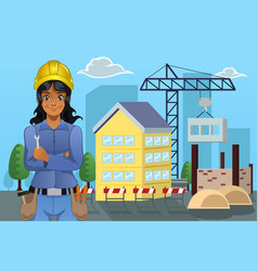 contractor in front a house vector image