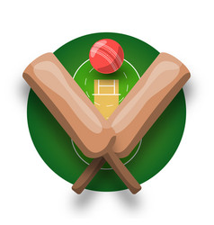 Cricket logo with cross bat ball and field modern vector