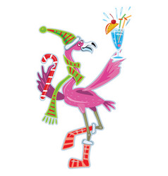 cute flamingo with cocktail vector image