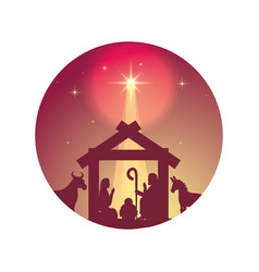 cute holy family and animals manger silhouettes vector image