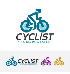 Cyclist logo design vector