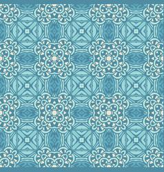 damask seamless tiles design blue vector image
