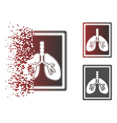 Dissolving dotted halftone lungs fluorography icon vector