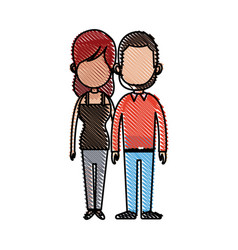 Drawing couple holding hand relation feeling vector