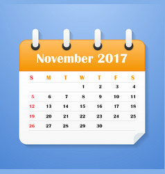 European calendar for november 2017 vector