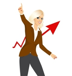excited woman raising her right arm vector image