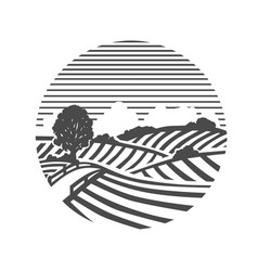 farm logo black and white vector image