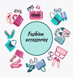 Fashion shopping frame background with women shoes vector image