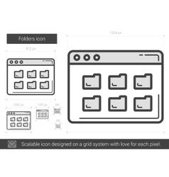 Folders line icon vector