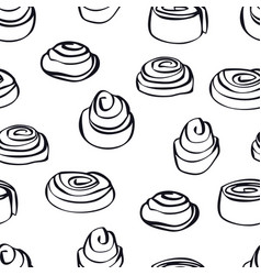 Food collection cinnamon buns seamless pattern vector