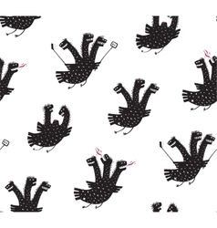 Funny Comic Humorous Seamless Pattern Dragon Hand vector image
