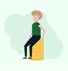girl sitting on coins vector image