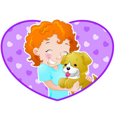 girl with puppy vector image