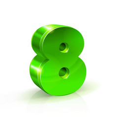 Glossy green eight 8 number 3d on vector