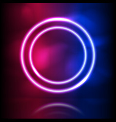 glowing neon round frame glowing lighting and vector image