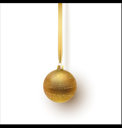 gold christmas ball with an ornament and spangles vector image