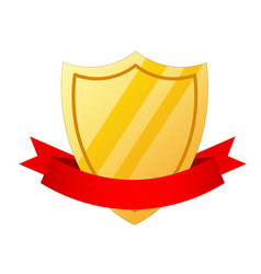 Golden shield icon in cartoon style and red vector