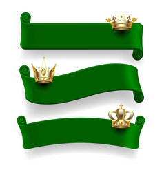 green ribbons with gold crowns vector image