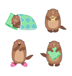 Groundhog set 1 cartoon outlines vector