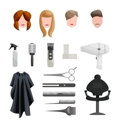 Hairdresser Icons set cartoon style vector image vector image