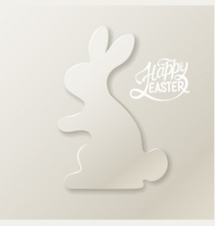 happy easter card with rabbit silhouette on bright vector image