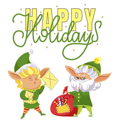 happy holidays elves preparing for christmas vector image