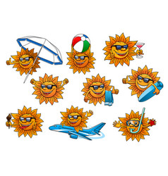 Happy summer sun cartoon mascot set vector