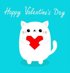 happy valentines day white baby cat kitten head vector image