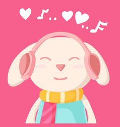 happy valentines day with bunny rabbit listening vector image