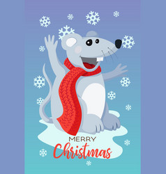 holiday christmas card with cute flat mouse vector image