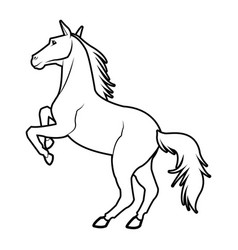 Horse on two legs equine animal line vector