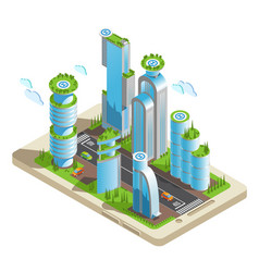 Isometric futuristic skyscrapers vector