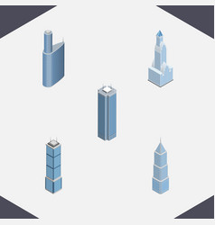 Isometric skyscraper set of building exterior vector