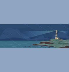 Lighthouse on seashore at rainy night flat vector