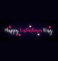 long neon banner valentines day vector image