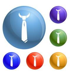 male necktie icons set vector image