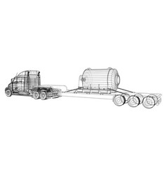 Model trailer truck wire-frame cargo vehicle vector