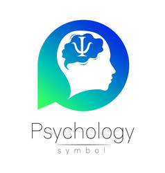 modern head sign of psychology human in a circle vector image