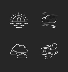 Morning weather chalk white icons set on black vector